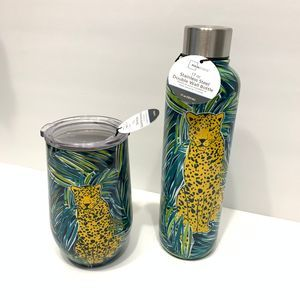 Set of 2 Mainstays Bottle and Stemless Wine NWT